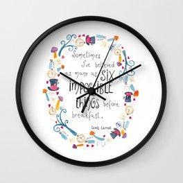Alice in Wonderland - quote in wreath Wall Clock