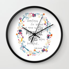 Alice in Wonderland - quote in wreath Wall Clock