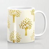 gold foil Mugs featuring Cream Gold Foil 02 by Aloke Design