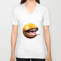 pacman V-neck T-shirts featuring PacMan by Joshua A. Biron