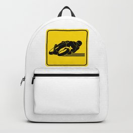 High Speed Motorcycle Racer Yellow Caution Backpack