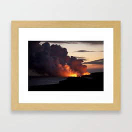 Lava Vaporizes Ocean Framed Art Print