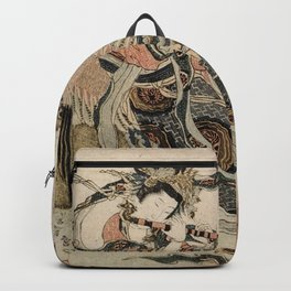 Hokusai, Aspara and the flute – musician manga, japan,hokusai,japanese,北斎,ミュージシャン Backpack