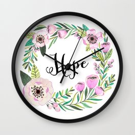Hope Lettering Watercolor Ilustration Wall Clock
