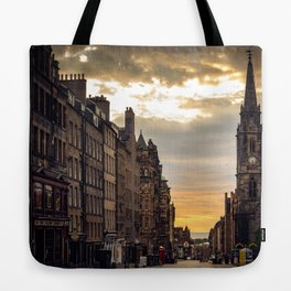 Royal Mile Sunrise in Edinburgh, Scotland Tote Bag