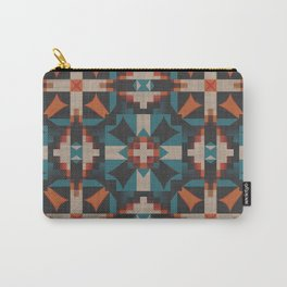Teal Blue Coral Orange Red Ethnic Mosaic Pattern Carry-All Pouch