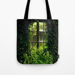 Green idyllic overgrown cottage garden window Tote Bag