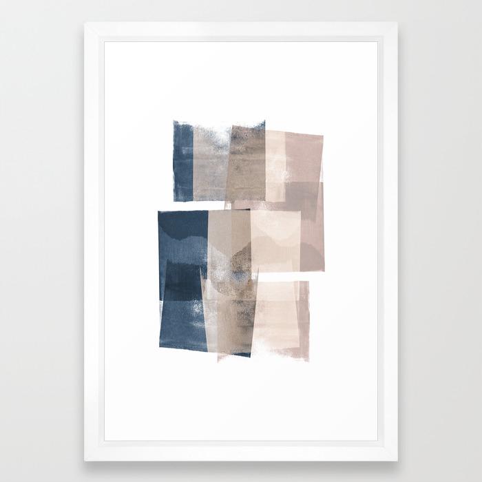 "Navy and Pink Minimalist Geometric Abstract ""Building Blocks"" Framed Art  Print"