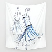 dress Wall Tapestries featuring Wave dress by Stefania's vintage sketches