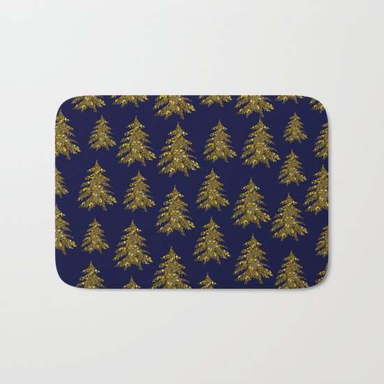 Sparkly gold Christmas tree on dark blue Bath Mat