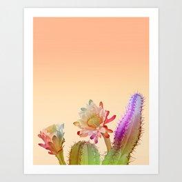 Peach Cactus Art Print