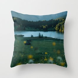 Sunrise at a mountain lake with forest - Landscape Photography Throw Pillow