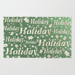 shiny font happy holidays in green rose Rug