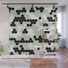 Honey Comb Light Green Geometric Pattern | Home Decor Wall Mural