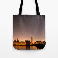 ben giles Tote Bags featuring Ben by Corbishley