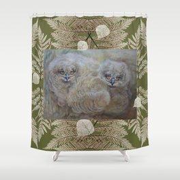 Eagle owls nest Shower Curtain