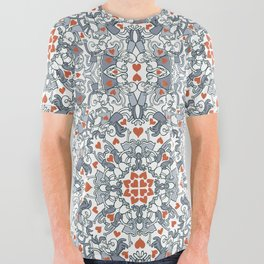 Kisses of love in a mandala design for Valentine's Day All Over Graphic Tee
