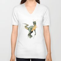 dinosaur V-neck T-shirts featuring Dinosaur by Nicola Girello