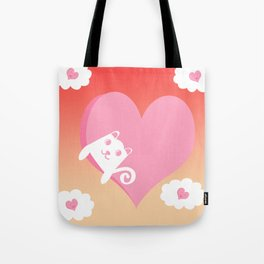White Cat at Sunset  Tote Bag