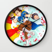street fighter Wall Clocks featuring Chunli Street Fighter by Aimee Steinberger