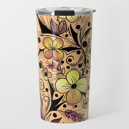 Flower Tattoo in Yellow and Purple Travel Mug