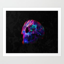 Phantoms vs Fire's Neon Skull Art Print