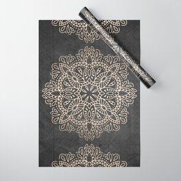Mandala White Gold on Dark Gray Wrapping Paper