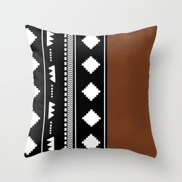 Southwestern Black with faux leather texture Throw Pillow