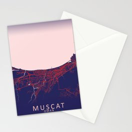 Muscat, Oman, Blue, White, City, Map Stationery Cards