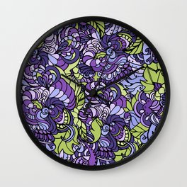 Seamless Doodle texture and floral pattern. Wall Clock