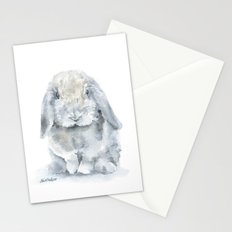 Mini Lop Gray Rabbit Watercolor Painting Stationery Cards