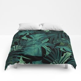 Tropical Jungle Night Leaves Pattern #1 #tropical #decor #art #society6 Comforters