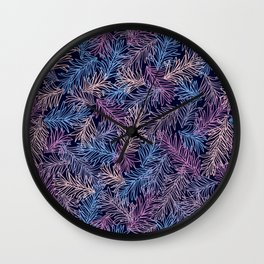 Ultraviolet Pine Leaves pattern Wall Clock