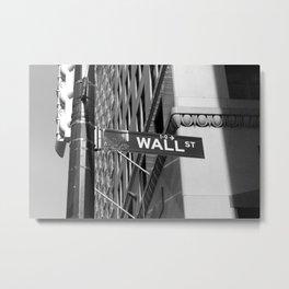 Wall St. - B&W Metal Print