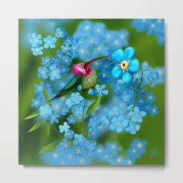 Clown hummingbird and forget me not flowers Metal Print