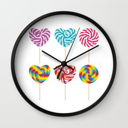 lollipops, colorful spiral candy cane with twisted design Wall Clock