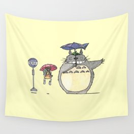 Toto ro Satsuki and Mei Bus stop scene Wall Tapestry