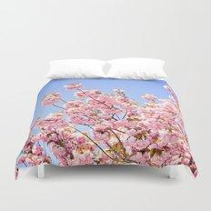 Pink Cherry Blossoms Against Blue Sky Duvet Cover