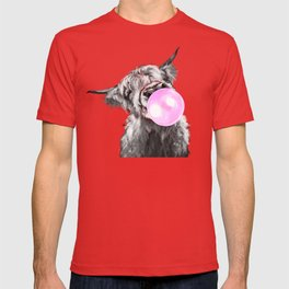 Bubble Gum Highland Cow Black and White T-shirt