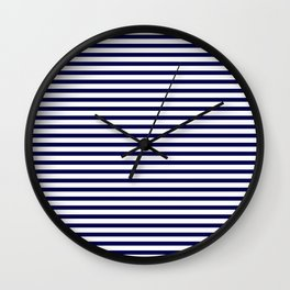Navy Blue & White Maritime Small Stripes - Mix & Match with Simplicity of Life Wall Clock