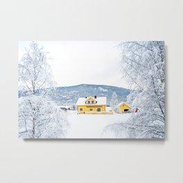 Yellow house in winter in Norway Metal Print