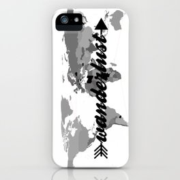Wanderlust Black and White Map iPhone Case