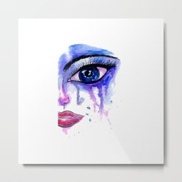 Painted Stylized Face with Blue Eyes Metal Print