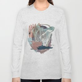 In the Clouds: a minimal mixed media piece in blues, pinks, white, and purple Long Sleeve T-shirt