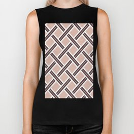 Modern Open Weave Pattern in Neutrals and Plums Biker Tank