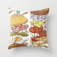 burger Throw Pillows featuring Burger by Duke.Doks