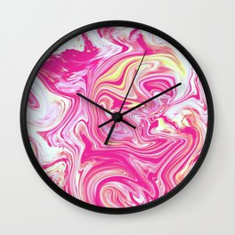 WHIRLING PINK AND GOLD Wall Clock