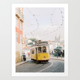 Yellow Tram in Lisbon | Portugal Streetcar Travel Photography | Europe Trolley Art Print