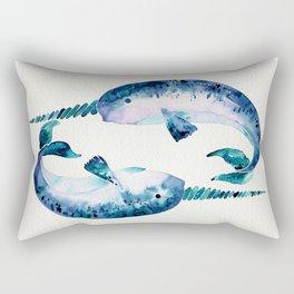 Blue Narwhals Rectangular Pillow
