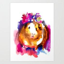 Guinea Pig in Flower Crown Art Print
